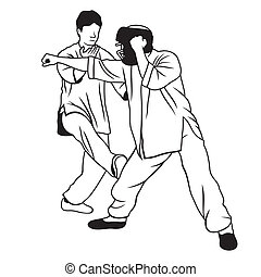 Martial arts illustration - Application of self-defense...