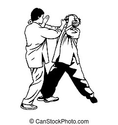 Martial arts illustration - Kick in the head towards the...