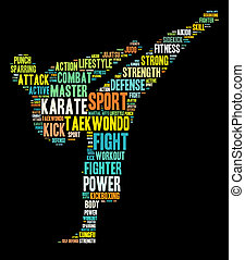 Martial arts info-text graphics and arrangement word clouds...