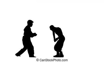 martial arts. karate and ninja show skills on the battlefield, Silhouette