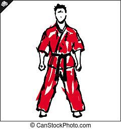 Martial arts. Karate fighter. Vector. EPS.