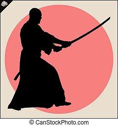 Martial arts. Kendo samurai katana fighter scene. - Fighting...