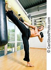 Martial Arts Kick - Kickboxer kicking the sandbag