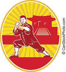 martial-arts-kung-fu-stance-oval - Illustration of shaolin...