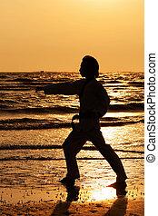 Martial arts man training taekwondo