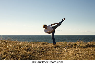 high-kick - martial arts master high-kicking
