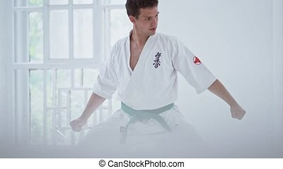 Martial arts master on fight training in gym - Handsome...