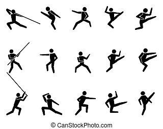 martial arts, mensen, symbool, iconen
