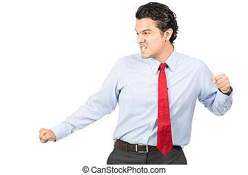 Martial Arts Pose Hispanic Business Professional
