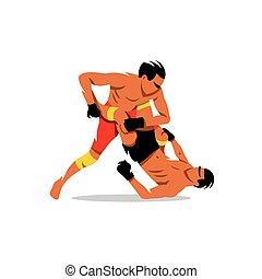 Martial Arts sign. Vector Cartoon Illustration.