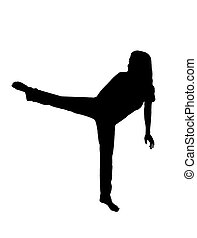 martial arts silhouette - silhouette over white of a female...