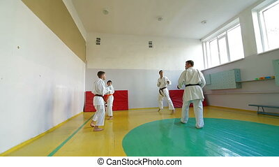 Martial Arts sport training in gym, Wide Angle