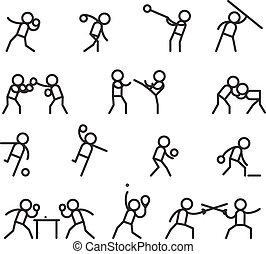 martial arts, sporten, lijn, iconen