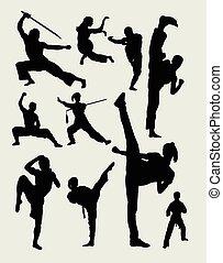 martial arts, sportende, silhouette