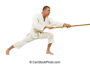 Martial arts - Man demonstrating martial arts isolated over...