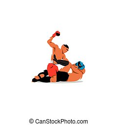 Martial Arts. Two men fighting. Vector Illustration.