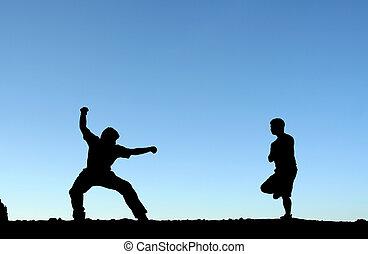 Martial arts - Two men practicing martial arts, in...