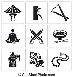 Martial Arts Vector Icons Set - Vector Isolated Flat Icons...