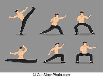 martial arts, vector, karakter, illustratie