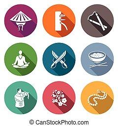 Martial Arts, Wing Chun Icons Set. Vector Illustration. -...