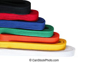 Martial Belts - Seven colors of martial arts Taekwondo belts...