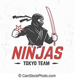 martial, illustration., insigne, concept., ninjas, t-shirt, ...