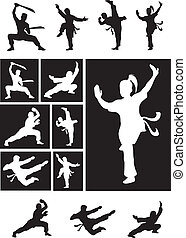 martial, ombre, -, kungfu, silhouette