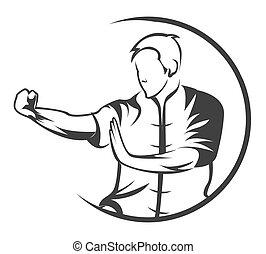 martial, symbole, art