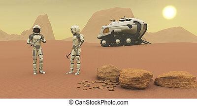 Martian Exploration - Two intrepid explorers talk together...