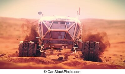 Martian heavy rover moves over rough terrain of Mars. High quality 4k footage