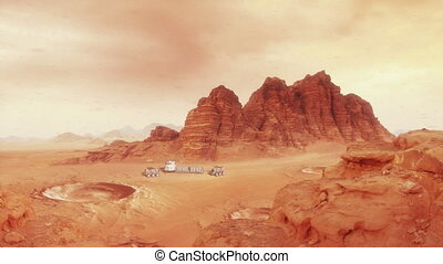 Martian Landscape One with Hab and Rover