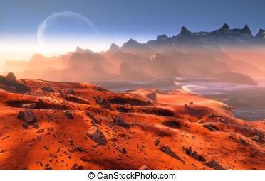 Martian landscape - Mars - martian landscape and Phobos moon...