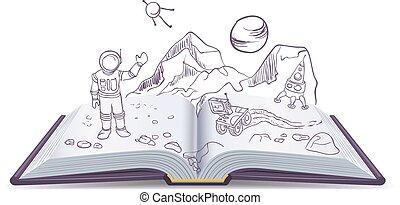 martian., libro, ciencia ficción, abierto