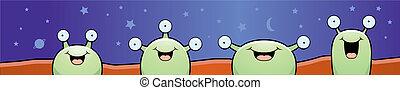 Martians Smiling - A group of cartoon Martian aliens ...