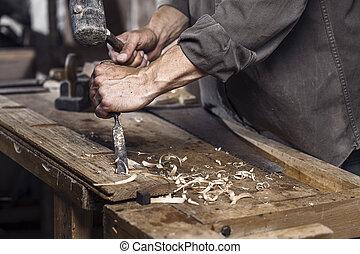 martillo, cincel, carpintero