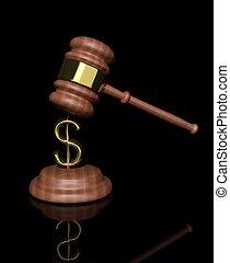 martillo, dólar, diseño, juez, 3d
