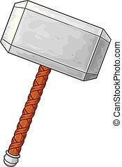 martillo, de, thor, vector, ilustración