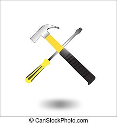 martillo, destornillador, vector., icono