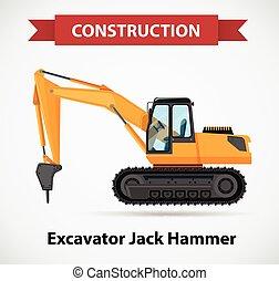 martillo, diseño, gato, excavador, icono