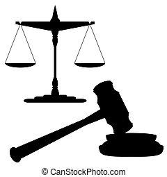 martillo, escalas, justicia