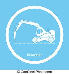 martillo, excavador, hidráulico