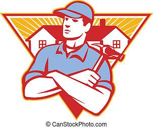 martillo, hecho, triángulo, brazos, construcción, cruzado, casa, trabajador, plano de fondo, conjunto, dentro, constructor, style., retro, ilustración