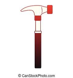 martillo, herramienta, construcción, líneas, rojo