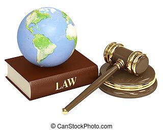 martillo, judicial, 3d, tierra