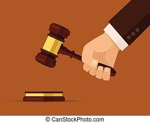 martillo, jueces, llevar a cabo la mano