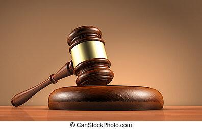 martillo, juez, símbolo, ley, legalidad