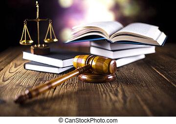 martillo, libros, ley, de madera