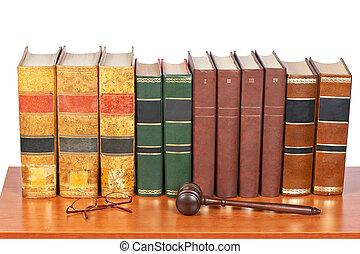 martillo madera, y, viejo, libros de ley