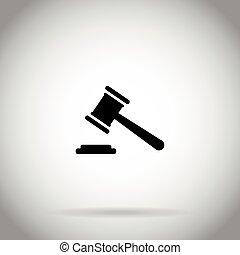 martillo, martillo, icono, juez, subasta, símbolo