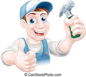 martillo, práctico, tenencia, hombre